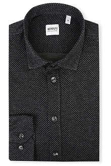 ARMANI COLLEZIONI Modern-fit herringbone shirt