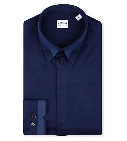 ARMANI COLLEZIONI Rubber-stripe slim-fit shirt (Navy