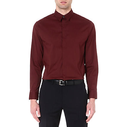 ARMANI COLLEZIONI Regular-fit single-cuff shirt (Burgundy