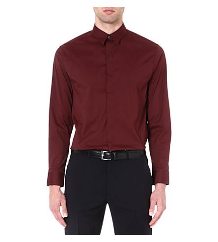 ARMANI COLLEZIONI Regular-fit single-cuff shirt (Burgundy