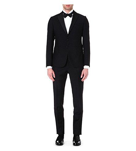 ARMANI COLLEZIONI Wool and mohair-blend tuxedo (Black