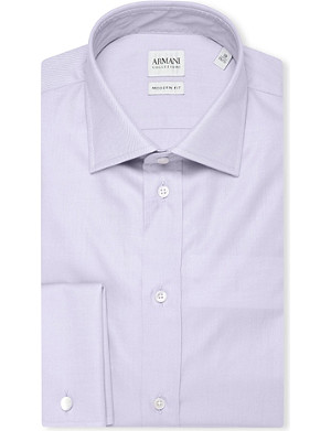 ARMANI COLLEZIONI Modern-fit double-cuff cotton-twill shirt