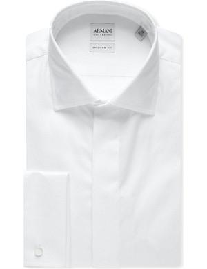 ARMANI COLLEZIONI Striped-jacquard double-cuff shirt