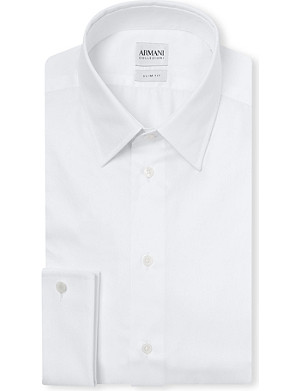 ARMANI COLLEZIONI Striped-jacquard double-cuff cotton shirt