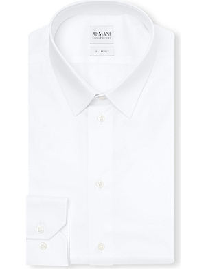 ARMANI COLLEZIONI Slim-fit single-cuff stretch-cotton shirt