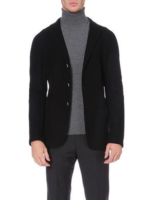 ARMANI COLLEZIONI Waffle-textured cotton-blend jacket