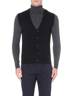 ARMANI COLLEZIONI Sleeveless cotton-knit cardigan