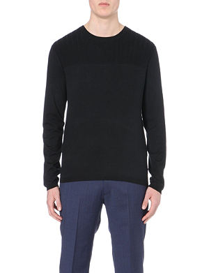 ARMANI COLLEZIONI Ribbed-panel knitted jumper