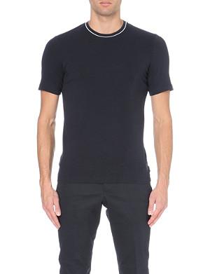 ARMANI COLLEZIONI Contrast-piping cotton-jersey t-shirt