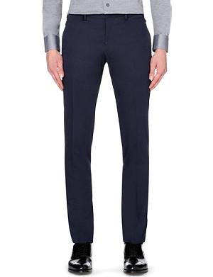 ARMANI COLLEZIONI Slim-fit cotton-blend tapered trousers