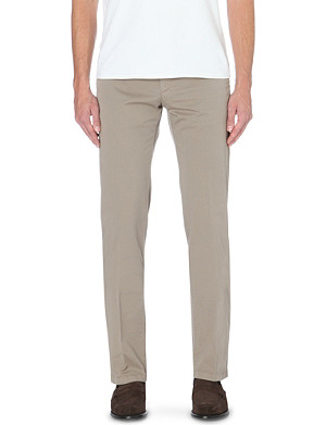 ARMANI COLLEZIONI Slim-fit tapered stretch-cotton trousers