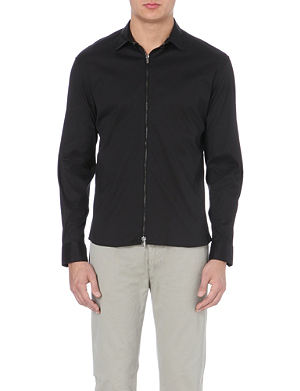 ARMANI COLLEZIONI Zip front stretch-cotton shirt