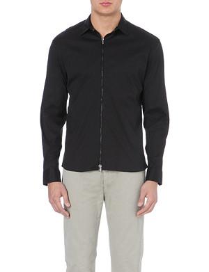 ARMANI COLLEZIONI Zip front stretch-cotton shirt