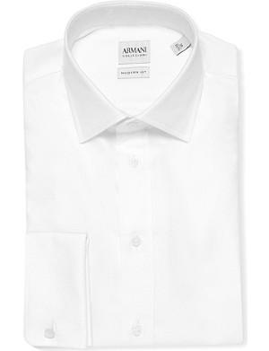 ARMANI COLLEZIONI Double-cuff cotton-twill shirt