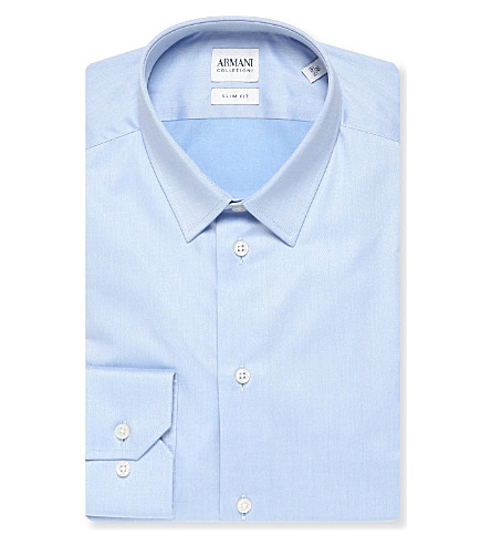 ARMANI COLLEZIONI Single-cuff stretch-cotton shirt (Sky