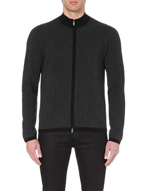 ARMANI COLLEZIONI Chevron-patterned zip-front cashmere cardigan