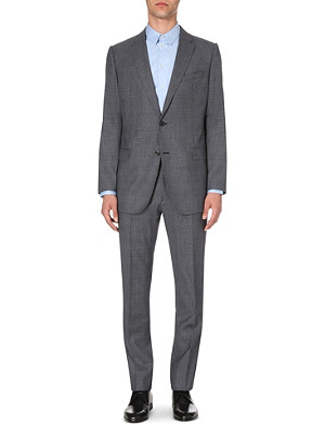 ARMANI COLLEZIONI Single-breasted Prince of Wales check wool suit
