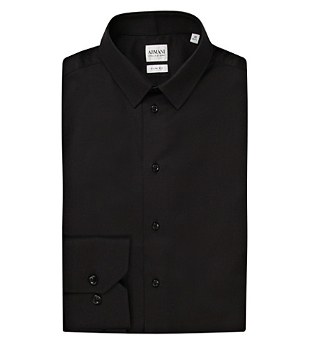 EMPORIO ARMANI Single-cuff stretch-cotton shirt (Black