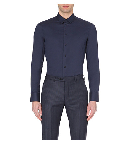 EMPORIO ARMANI Single-cuff stretch-cotton shirt (Navy