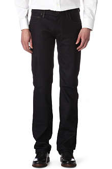 ARMANI J15 regular-fit leather-trim jeans