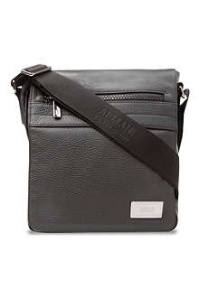 ARMANI Grain leather messenger bag