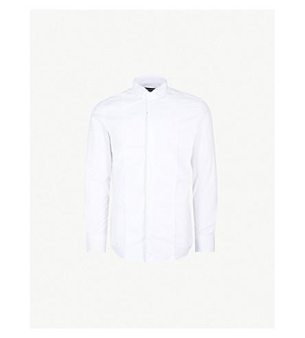EMPORIO ARMANI Lined-bib cotton shirt (White