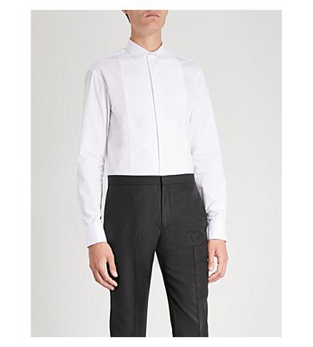 de algodón diamante con ARMANI EMPORIO Blanco de babero Camisa wqf7zxB1H