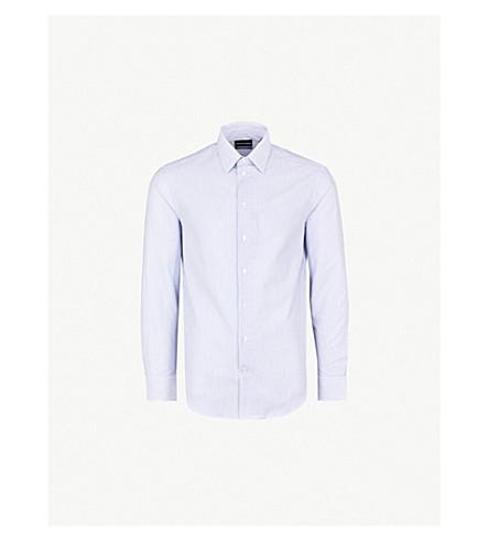 EMPORIO ARMANI Striped modern-fit cotton shirt (White