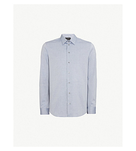 EMPORIO ARMANI 链接模式摩登版型棉衬衫 (海军