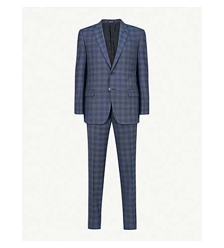 EMPORIO ARMANI Checked G-line wool suit (Mid+blue