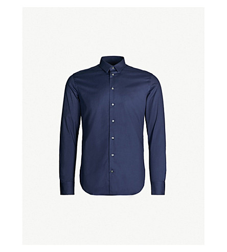 EMPORIO ARMANI Slim-fit stretch-cotton shirt (Navy