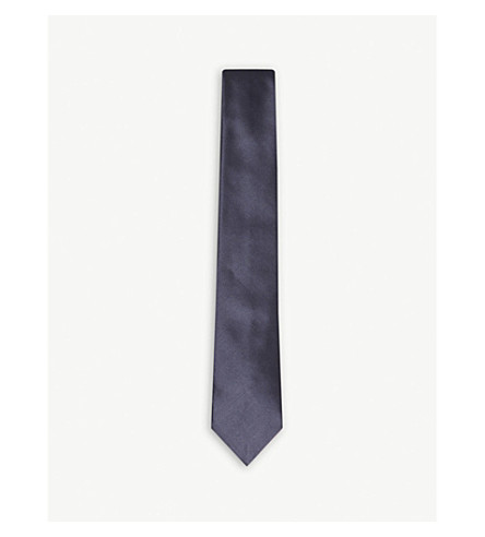 EMPORIO ARMANI Solid silk evening tie (Navy