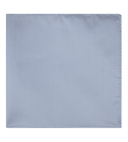 EMPORIO ARMANI Solid twill silk pocket square (Light+blue