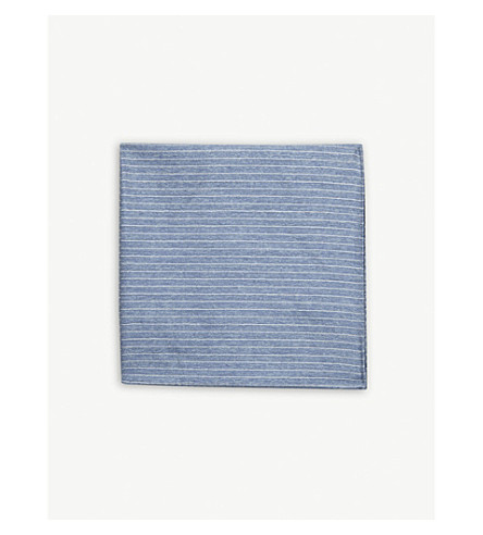 EMPORIO ARMANI Pin-stripe silk pocket square (Light+blue