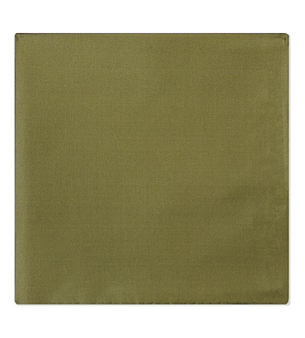 EMPORIO ARMANI Solid silk pocket square (Khaki