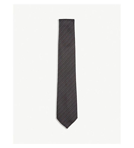 Diamond-check and dot silk and cotton tie