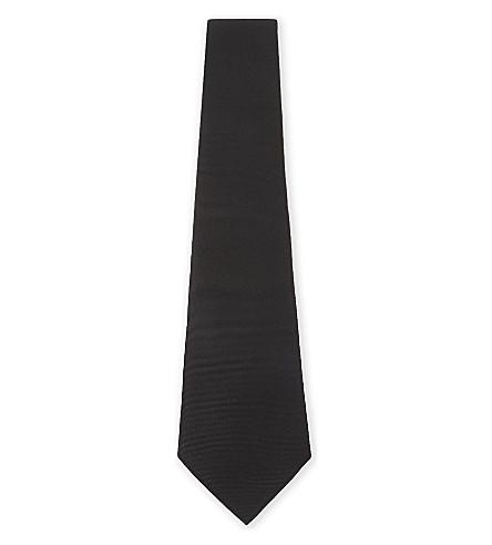 EMPORIO ARMANI Twill silk tie (Black