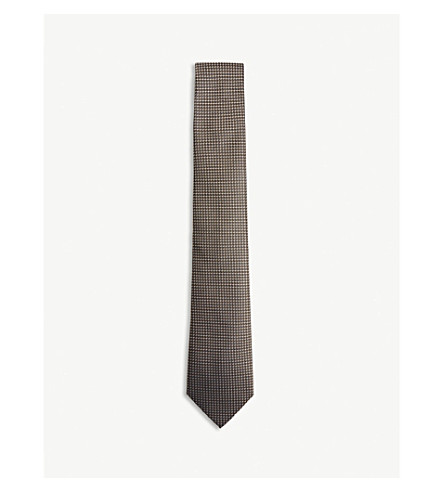 EMPORIO ARMANI Grid and dot silk tie (Black