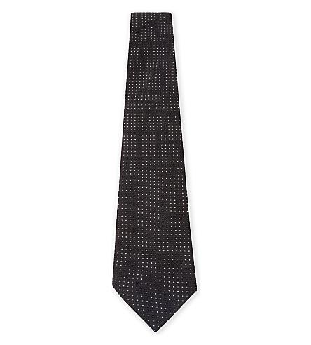 EMPORIO ARMANI Micro-dot silk tie (Black