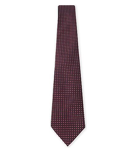 EMPORIO ARMANI Geometric tile print silk tie (Bordeaux