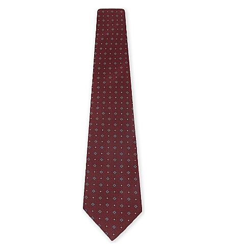 EMPORIO ARMANI Geometric print silk tie (Bordeaux