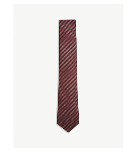 EMPORIO ARMANI Club stripe linen and silk tie (Bordeaux