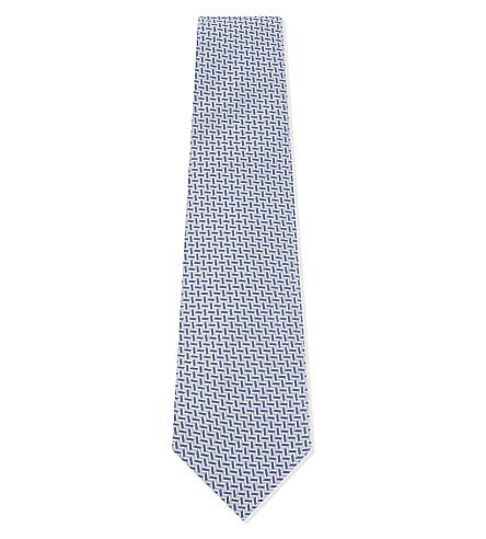 EMPORIO ARMANI Reverse chevron silk-blend tie (Light+blue