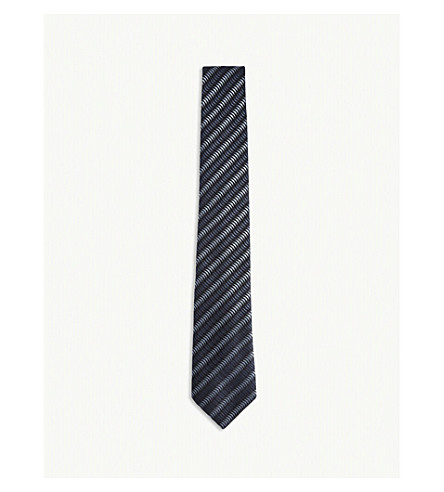 EMPORIO ARMANI Chevron stripes silk tie (Navy