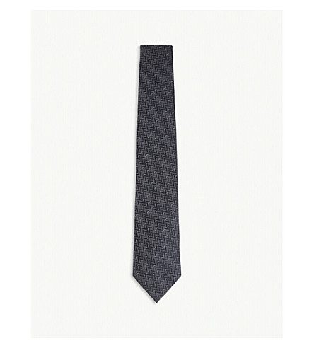ARMANI COLLEZIONI Stitched chevron cotton and silk tie (Grey