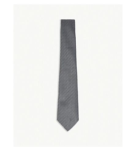 EMPORIO ARMANI Chevron silk tie (Grey