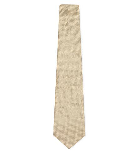 ARMANI COLLEZIONI Tonal herringbone silk tie (Gold