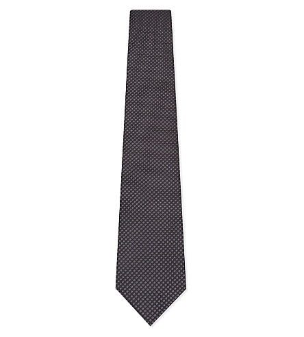 ARMANI COLLEZIONI Micro polka dot silk tie (Black