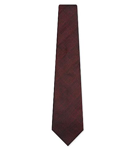 ARMANI COLLEZIONI Sharkskin silk-blend tie (Borduex