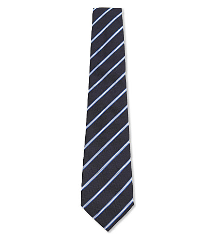 ARMANI COLLEZIONI Regimental stripe silk-blend tie (Navy